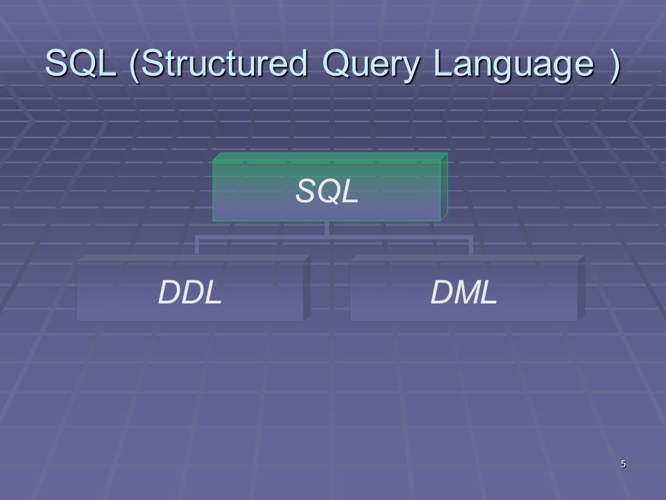 5 SQL (Structured Query Language ) SQL DDLDML
