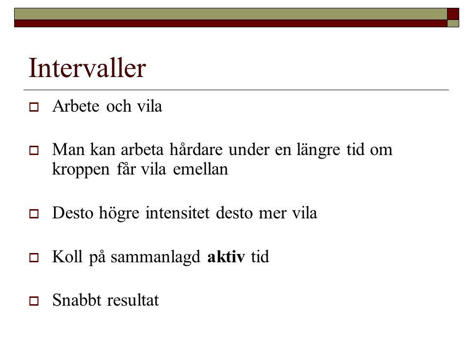 Exempel på Intervaller resp.Distans  Lyktstolpeträning - jogga 5 lyktstolpar och gå 2.