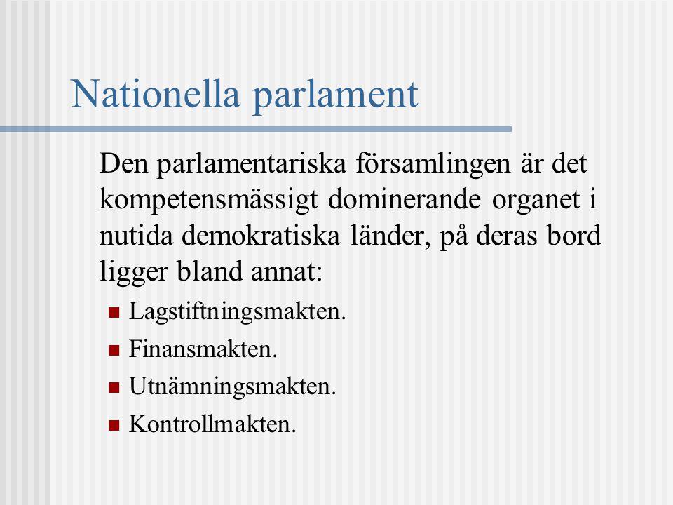 Nationella parlament Den parlamentariska församlingen är det kompetensmässigt dominerande organet i nutida demokratiska länder, på deras bord ligger b