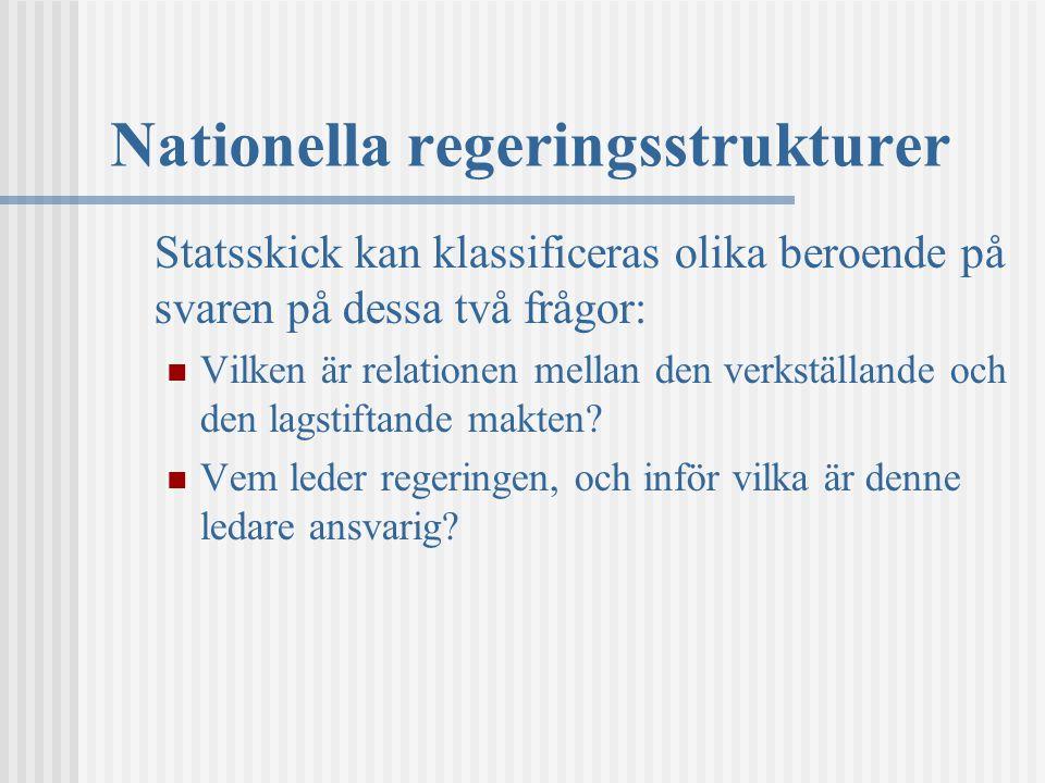 Nationella regeringsstrukturer Statsskick kan klassificeras olika beroende på svaren på dessa två frågor: Vilken är relationen mellan den verkställand