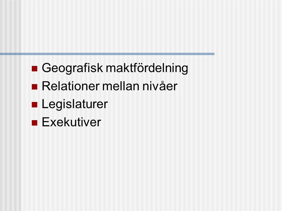 Geografisk maktfördelning Enhetsstat Exempel: Sverige, Förenade Kungariket Federation Exempel: USA, Tyskland Konfederation Exempel: EU (?), CIS/OSS (?) (Imperium) Exempel: Sovjetunionen ---------------------------------------------------- Relationer mellan nivåer Decentralisering Kommunal självstyrelse