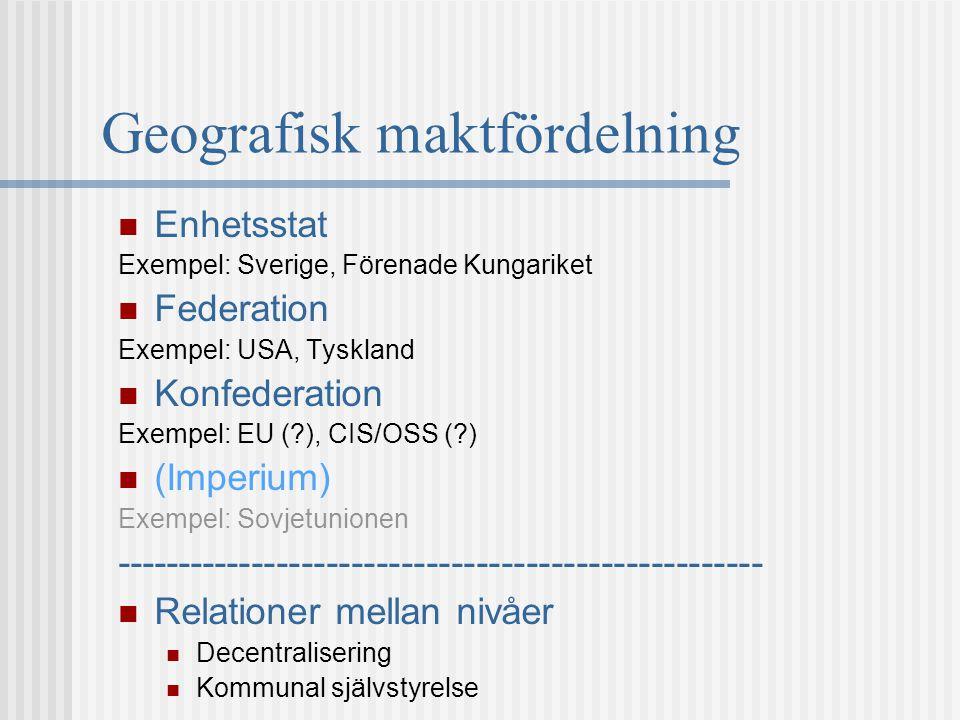 Geografisk maktfördelning Enhetsstat Exempel: Sverige, Förenade Kungariket Federation Exempel: USA, Tyskland Konfederation Exempel: EU (?), CIS/OSS (?
