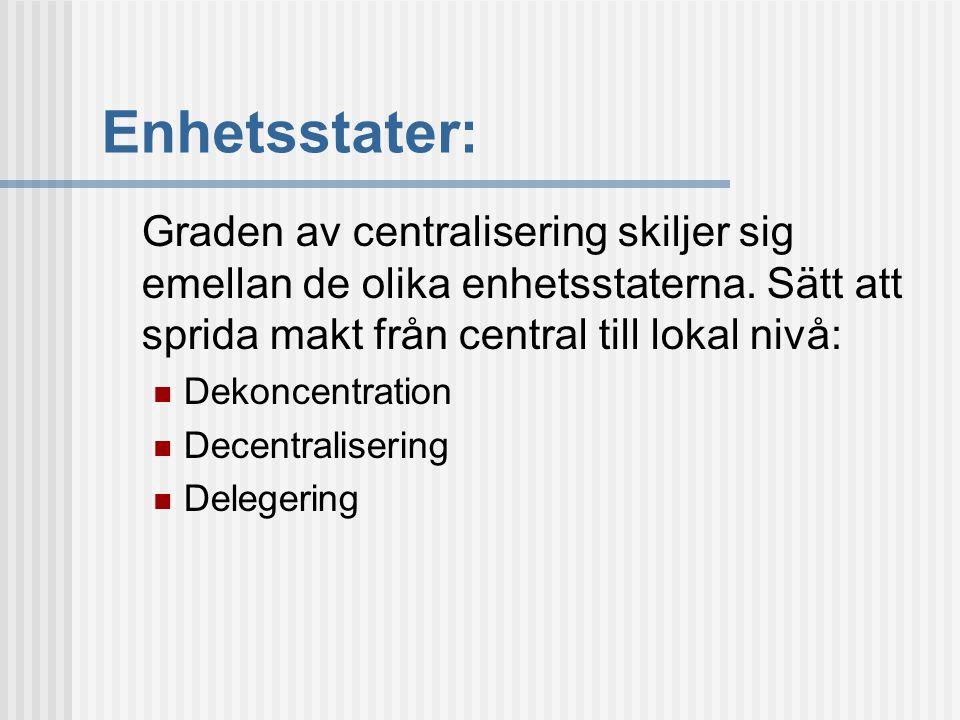 Enhetsstater: Graden av centralisering skiljer sig emellan de olika enhetsstaterna. Sätt att sprida makt från central till lokal nivå: Dekoncentration