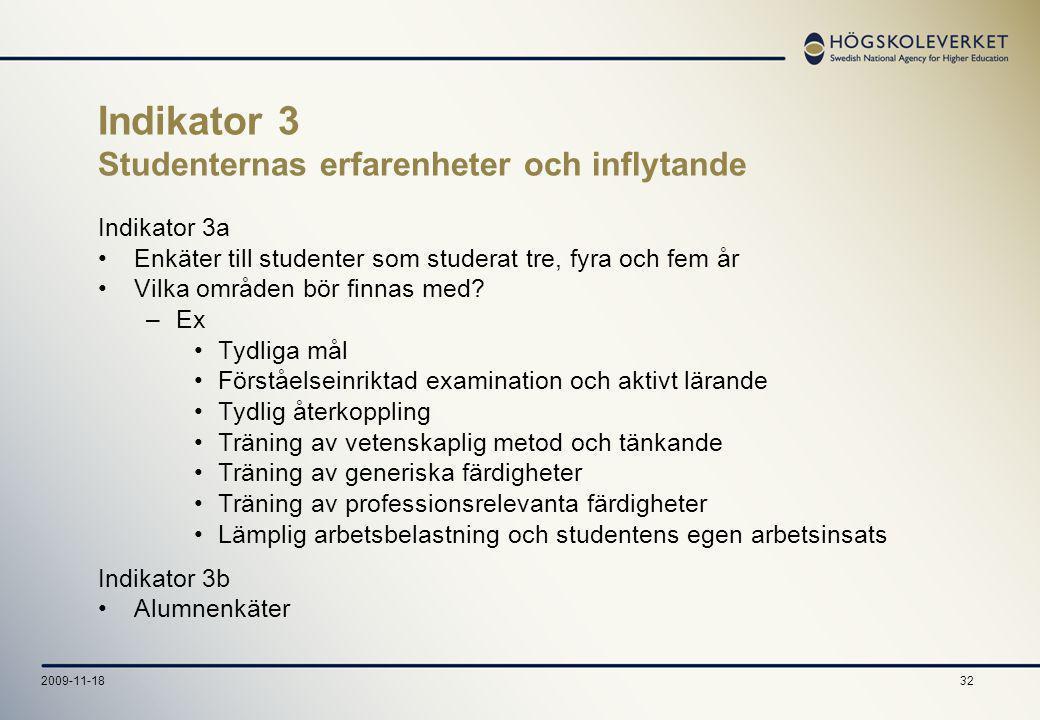 322009-11-18 Indikator 3 Studenternas erfarenheter och inflytande Indikator 3a Enkäter till studenter som studerat tre, fyra och fem år Vilka områden bör finnas med.