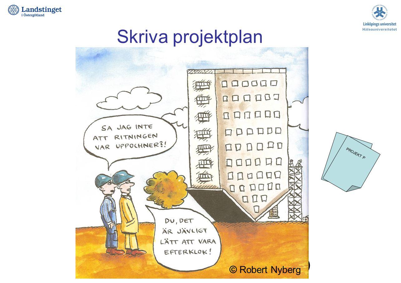 Skriva projektplan Projekttitel Projektdeltagare, roller i projektet Bakgrund / Introduktion Syfte / frågeställning Metod Etiska överväganden Finansie