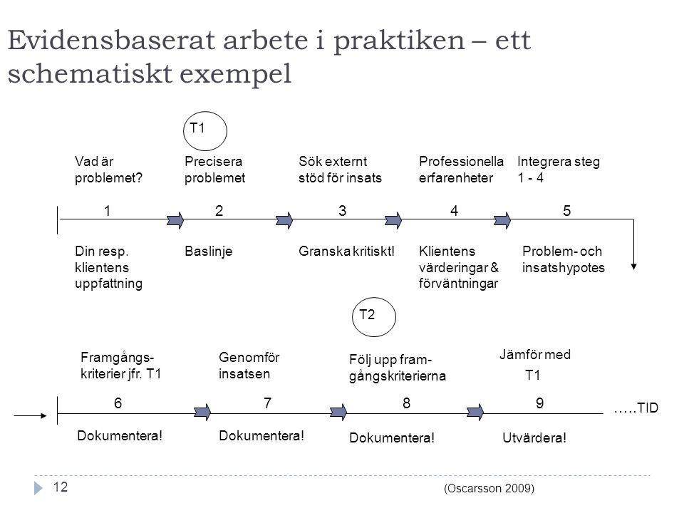 12 Evidensbaserat arbete i praktiken – ett schematiskt exempel 12 Jämför med Vad är problemet? Precisera problemet Sök externt stöd för insats Profess