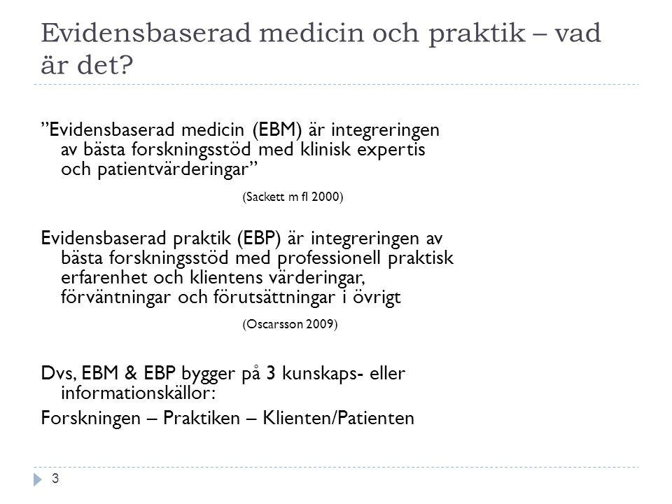 """Evidensbaserad medicin och praktik – vad är det? 3 """"Evidensbaserad medicin (EBM) är integreringen av bästa forskningsstöd med klinisk expertis och pat"""