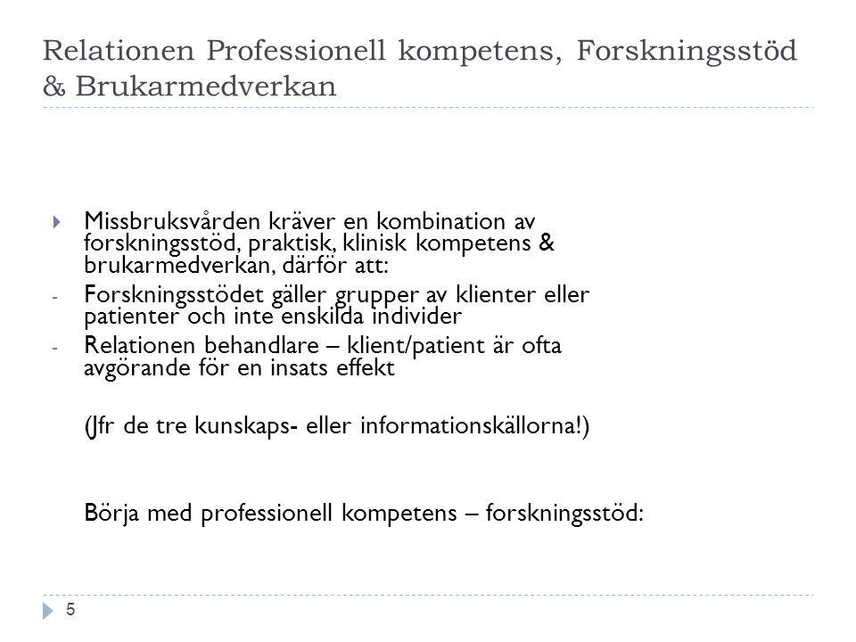 Relationen Professionell kompetens, Forskningsstöd & Brukarmedverkan 5  Missbruksvården kräver en kombination av forskningsstöd, praktisk, klinisk ko