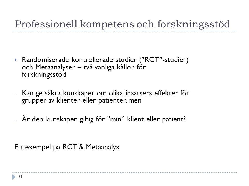 """Professionell kompetens och forskningsstöd 6  Randomiserade kontrollerade studier (""""RCT""""-studier) och Metaanalyser – två vanliga källor för forskning"""