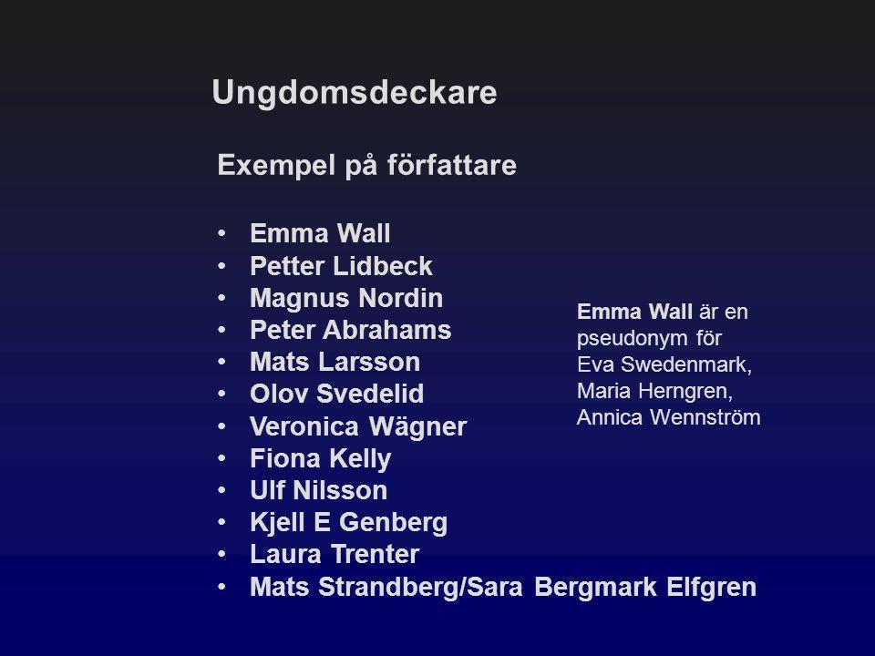 Ungdomsdeckare Exempel på författare Emma Wall Petter Lidbeck Magnus Nordin Peter Abrahams Mats Larsson Olov Svedelid Veronica Wägner Fiona Kelly Ulf
