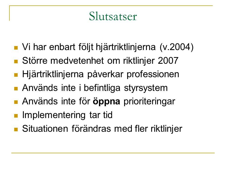 Slutsatser Vi har enbart följt hjärtriktlinjerna (v.2004) Större medvetenhet om riktlinjer 2007 Hjärtriktlinjerna påverkar professionen Används inte i befintliga styrsystem Används inte för öppna prioriteringar Implementering tar tid Situationen förändras med fler riktlinjer
