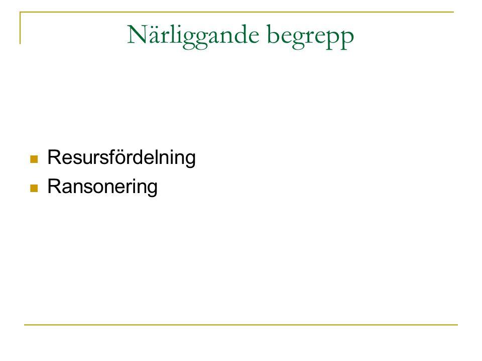 Närliggande begrepp Resursfördelning Ransonering