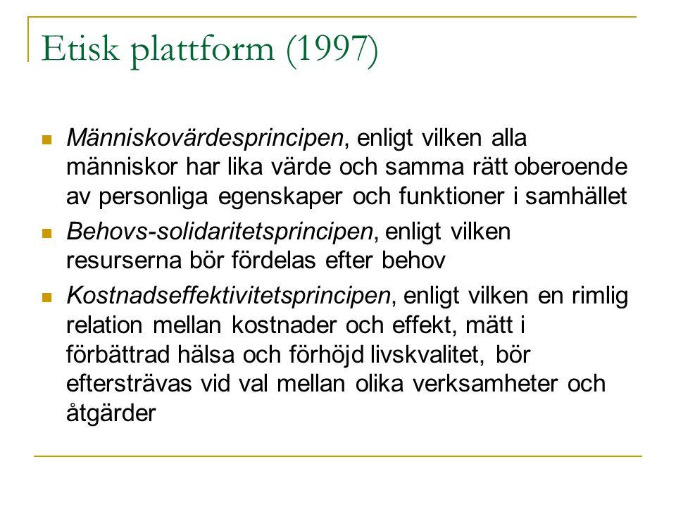 Etisk plattform (1997) Människovärdesprincipen, enligt vilken alla människor har lika värde och samma rätt oberoende av personliga egenskaper och funktioner i samhället Behovs-solidaritetsprincipen, enligt vilken resurserna bör fördelas efter behov Kostnadseffektivitetsprincipen, enligt vilken en rimlig relation mellan kostnader och effekt, mätt i förbättrad hälsa och förhöjd livskvalitet, bör eftersträvas vid val mellan olika verksamheter och åtgärder