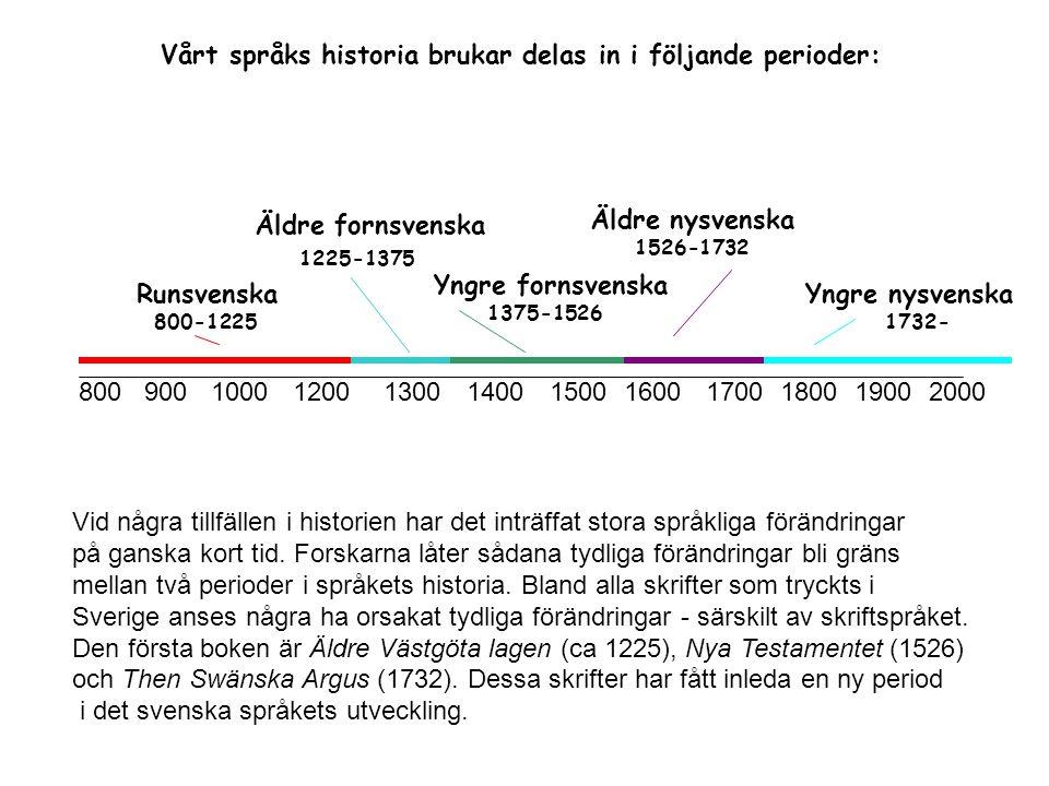 8009001000120013001400150016001700180019002000 Runsvenska 800-1225 Äldre fornsvenska 1225-1375 Yngre fornsvenska 1375-1526 Äldre nysvenska 1526-1732 Y