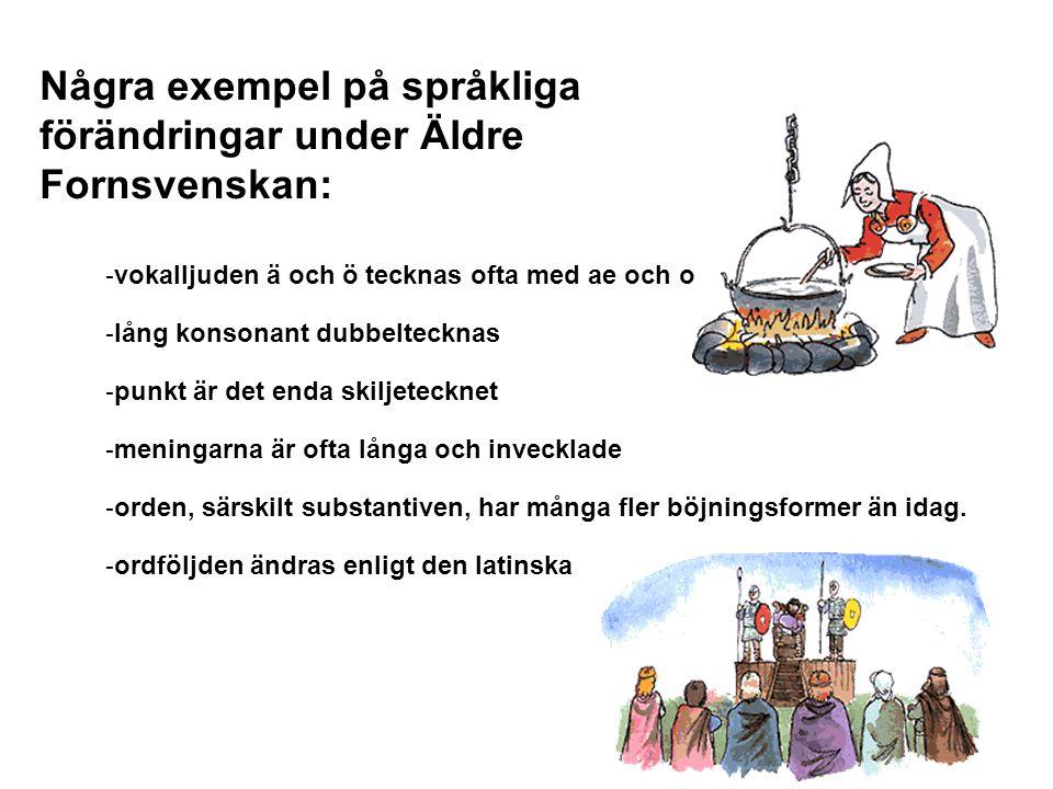 Några exempel på språkliga förändringar under Äldre Fornsvenskan: - vokalljuden ä och ö tecknas ofta med ae och o - lång konsonant dubbeltecknas - pun