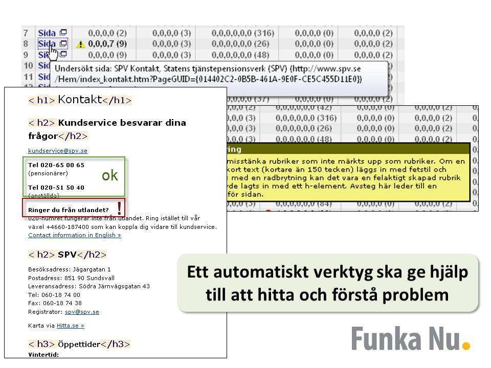 Automatiska tester Ett automatiskt verktyg ska ge hjälp till att hitta och förstå problem