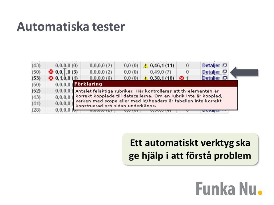 Automatiska tester Ett automatiskt verktyg ska ge hjälp i att förstå problem