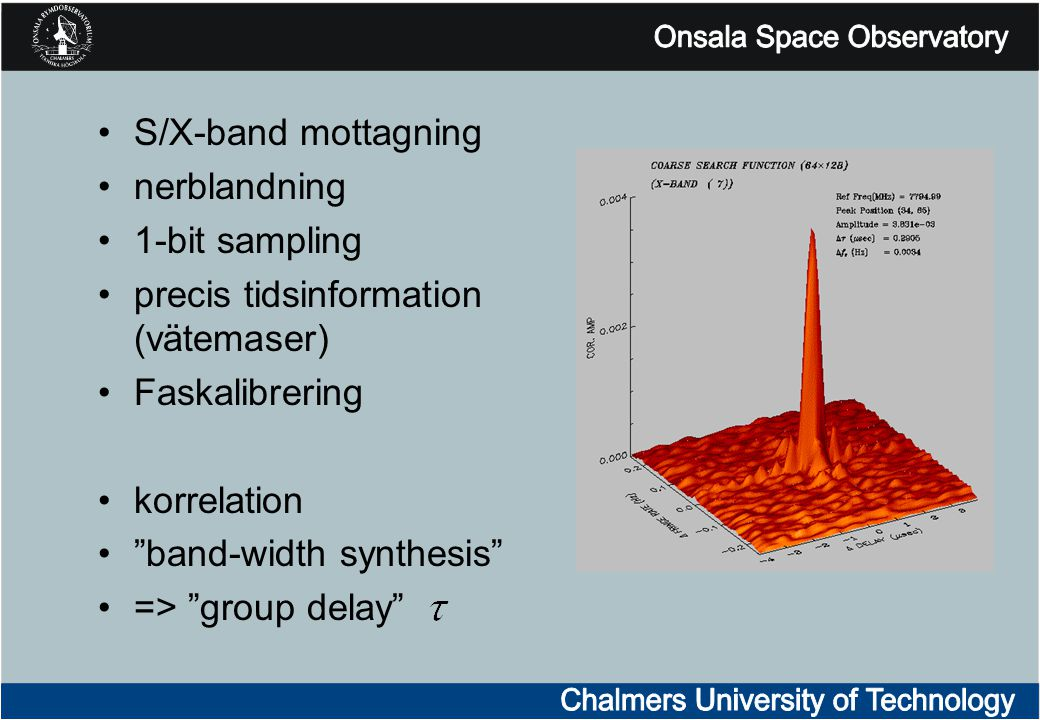 "S/X-band mottagning nerblandning 1-bit sampling precis tidsinformation (vätemaser) Faskalibrering korrelation ""band-width synthesis"" => ""group delay"""
