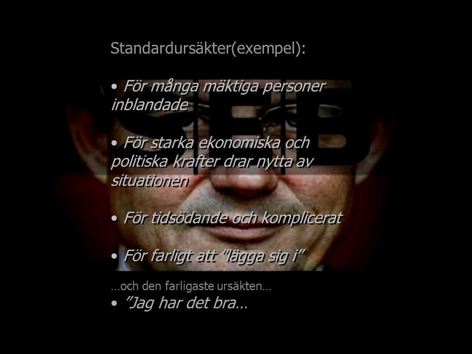 Standardursäkter(exempel): För många mäktiga personer inblandade För starka ekonomiska och politiska krafter drar nytta av situationen För tidsödande och komplicerat För farligt att lägga sig i …och den farligaste ursäkten… Jag har det bra… Standardursäkter(exempel): För många mäktiga personer inblandade För starka ekonomiska och politiska krafter drar nytta av situationen För tidsödande och komplicerat För farligt att lägga sig i …och den farligaste ursäkten… Jag har det bra…