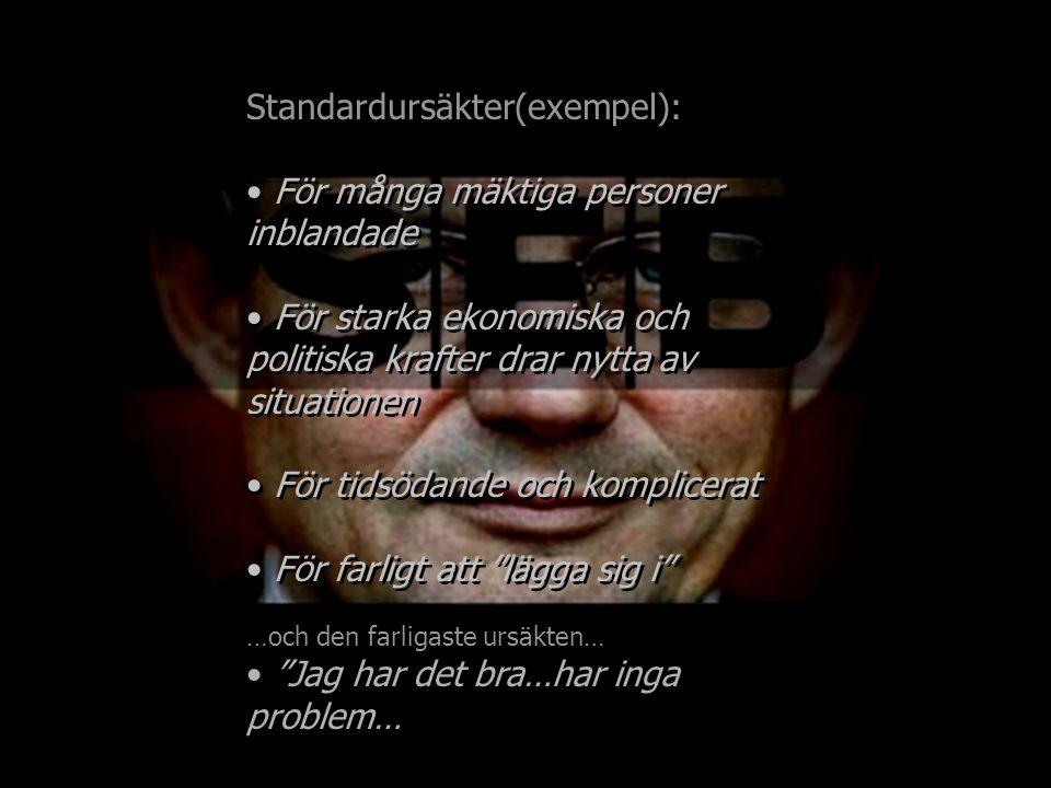 Standardursäkter(exempel): För många mäktiga personer inblandade För starka ekonomiska och politiska krafter drar nytta av situationen För tidsödande och komplicerat För farligt att lägga sig i …och den farligaste ursäkten… Jag har det bra…har inga problem… Standardursäkter(exempel): För många mäktiga personer inblandade För starka ekonomiska och politiska krafter drar nytta av situationen För tidsödande och komplicerat För farligt att lägga sig i …och den farligaste ursäkten… Jag har det bra…har inga problem…