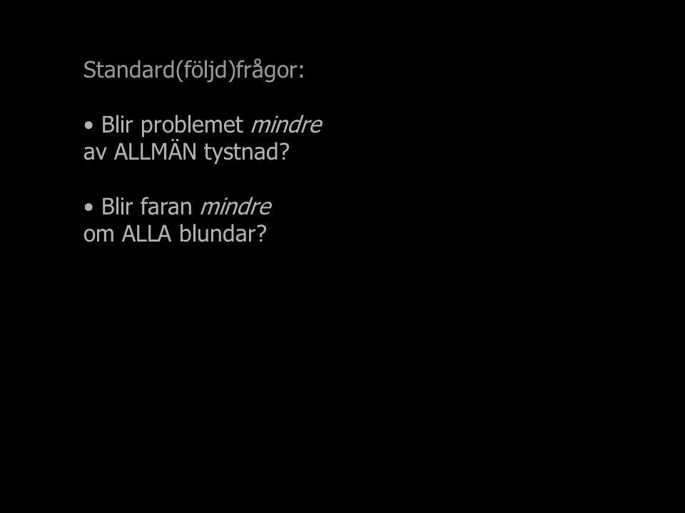 Standard(följd)frågor: Blir problemet mindre av ALLMÄN tystnad Blir faran mindre om ALLA blundar