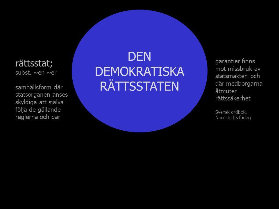 DEN DEMOKRATISKA RÄTTSSTATEN rättsstat; subst.