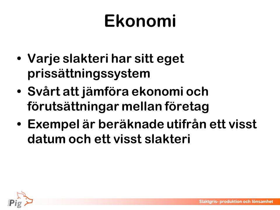Föreläsningsrubrik / temaSlaktgris- produktion och lönsamhet Ekonomi Varje slakteri har sitt eget prissättningssystem Svårt att jämföra ekonomi och fö