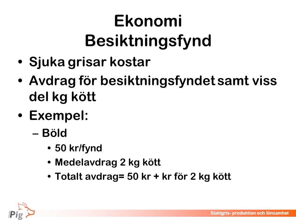 Föreläsningsrubrik / temaSlaktgris- produktion och lönsamhet Ekonomi Besiktningsfynd Sjuka grisar kostar Avdrag för besiktningsfyndet samt viss del kg