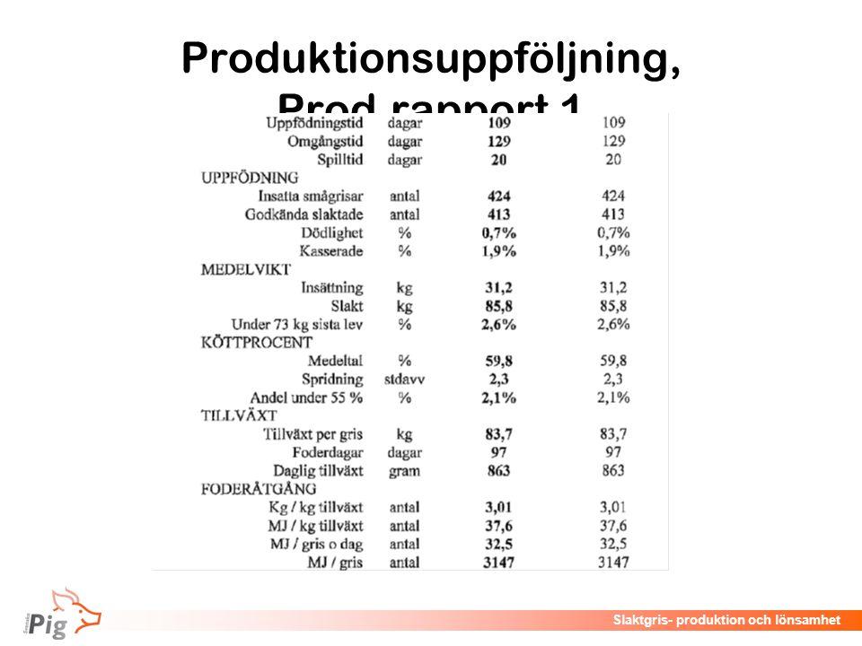 Föreläsningsrubrik / temaSlaktgris- produktion och lönsamhet Produktionsuppföljning, Prod.rapport 1