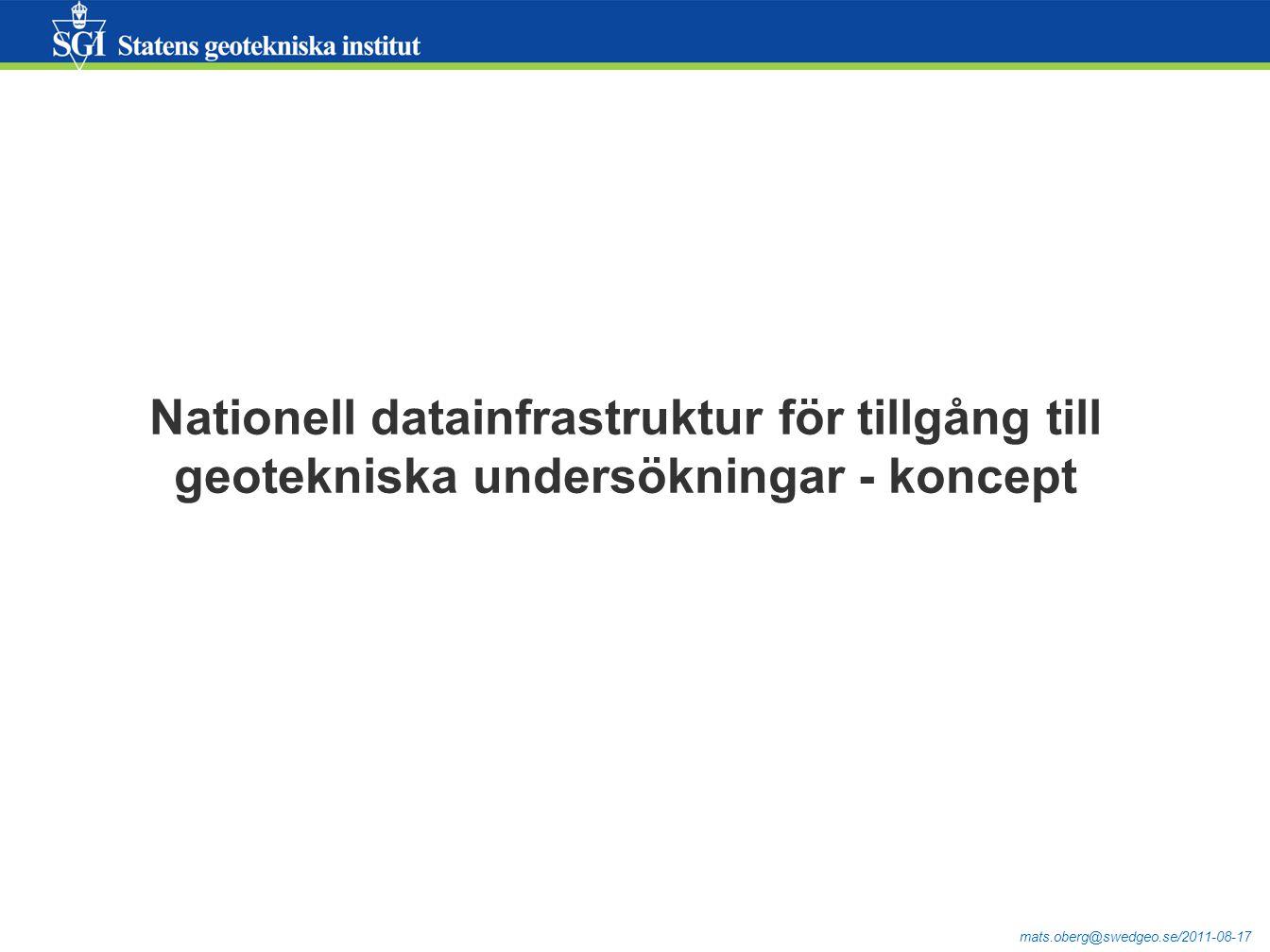 mats.oberg@swedgeo.se/2011-08-17 Nationell datainfrastruktur för tillgång till geotekniska undersökningar - koncept
