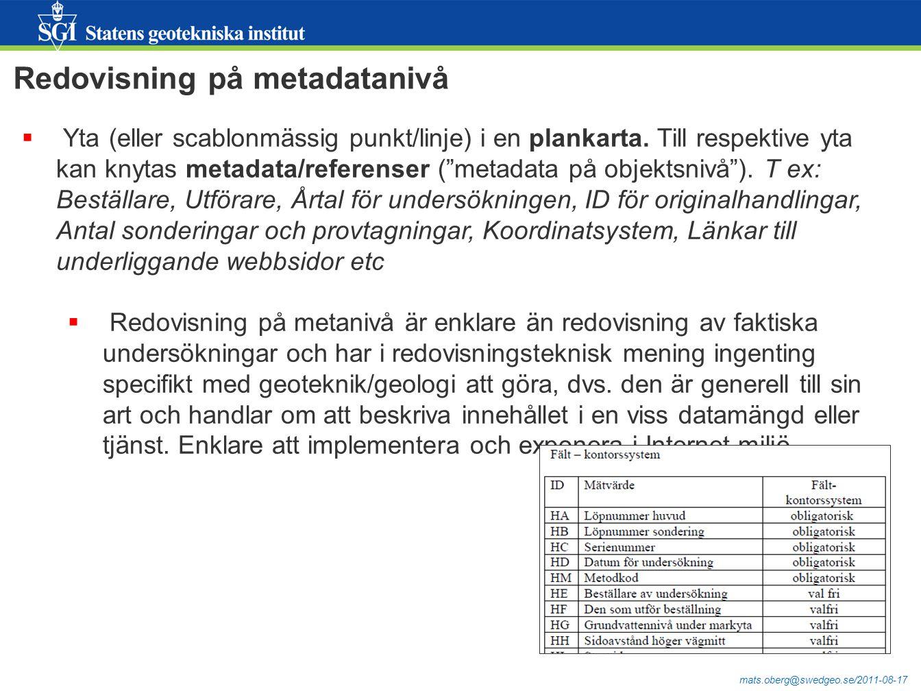 """mats.oberg@swedgeo.se/2011-08-17  Yta (eller scablonmässig punkt/linje) i en plankarta. Till respektive yta kan knytas metadata/referenser (""""metadata"""