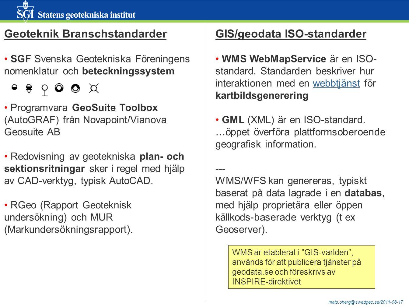 mats.oberg@swedgeo.se/2011-08-17 Geoteknik Branschstandarder SGF Svenska Geotekniska Föreningens nomenklatur och beteckningssystem Programvara GeoSuite Toolbox (AutoGRAF) från Novapoint/Vianova Geosuite AB Redovisning av geotekniska plan- och sektionsritningar sker i regel med hjälp av CAD-verktyg, typisk AutoCAD.