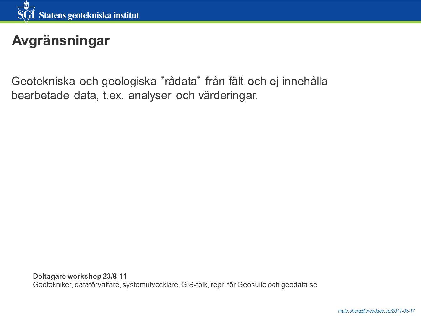 mats.oberg@swedgeo.se/2011-08-17 Exponering i Geoteknisk sektorsportal (del av geodata.se) Gås igenom i annan presentation… http://gis.swedgeo.se/startgsp/http://gis.swedgeo.se/startgsp/  http://ver.geodata.se/GeodataExplorer/?site=Geoteknikhttp://ver.geodata.se/GeodataExplorer/?site=Geoteknik