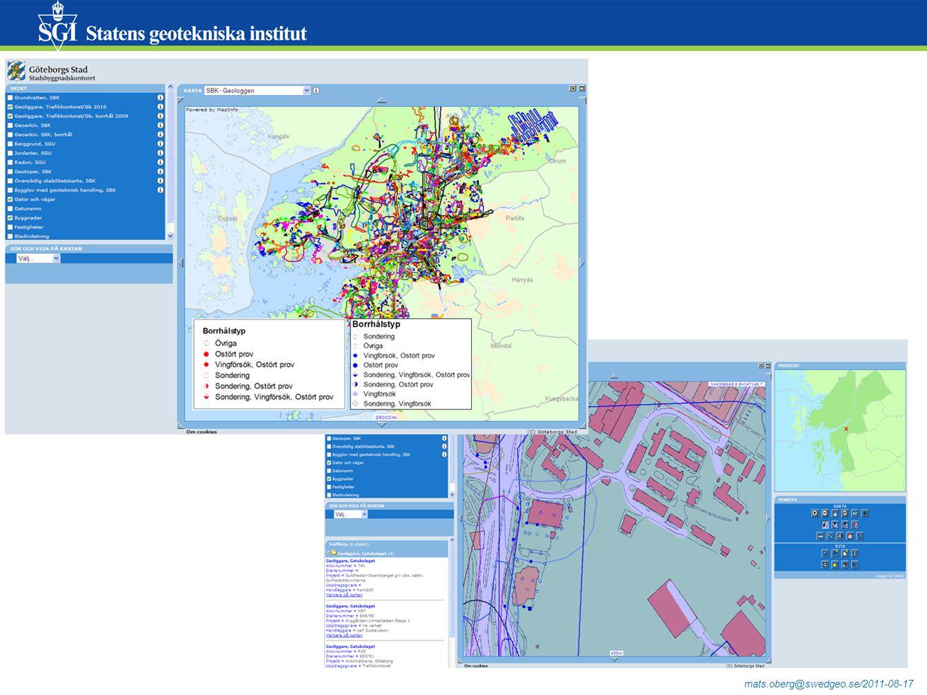 mats.oberg@swedgeo.se/2011-08-17 Från GeoSuite till databaslagring (och WMS) - exempel pågående utveckling Trafikverket Leverantörerna av data (konsulter) ska kunna hantera stora delar av processen på egen hand.