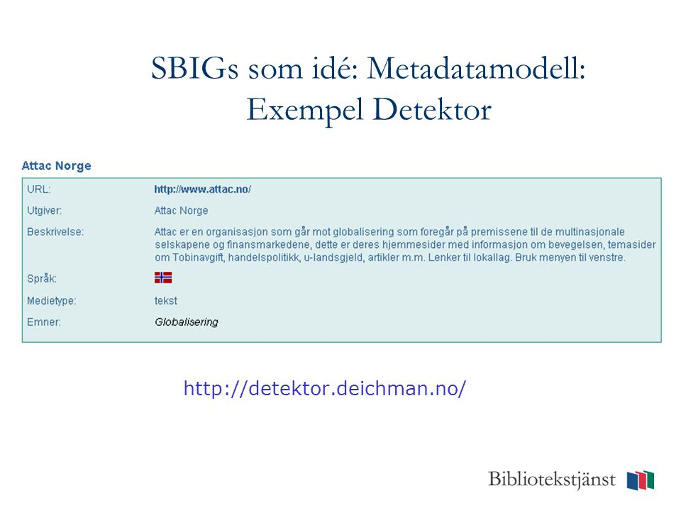 SBIGs som idé: Metadatamodell: Exempel Detektor http://detektor.deichman.no/
