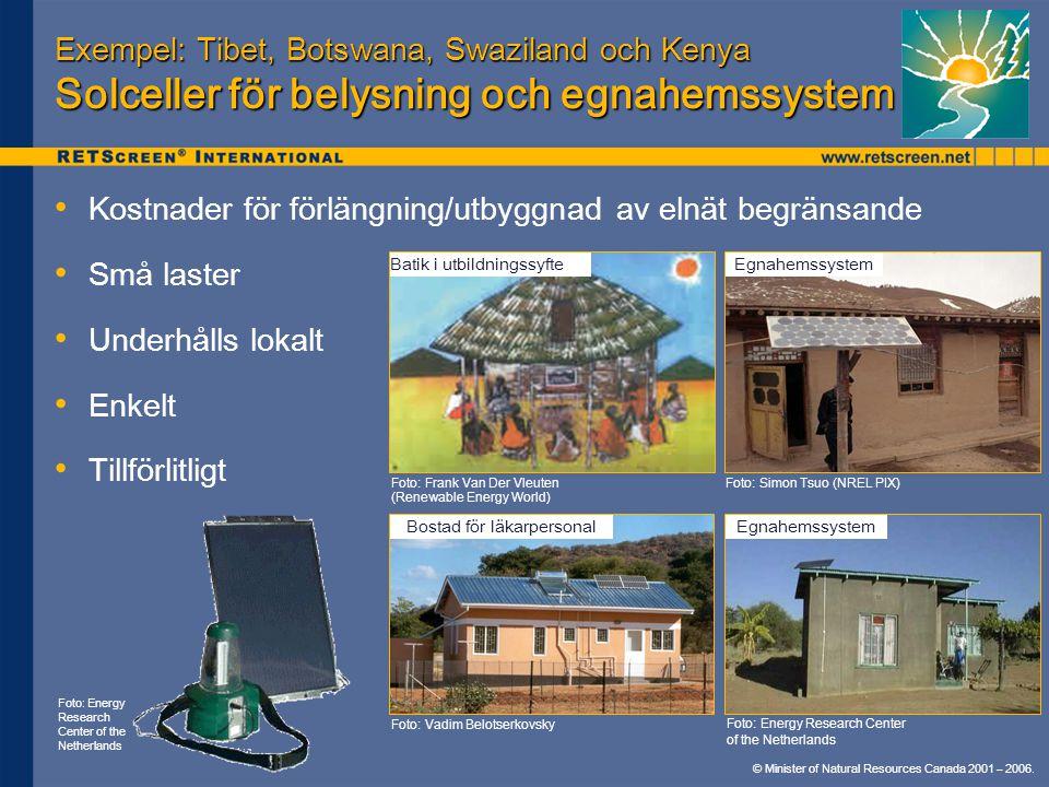 © Minister of Natural Resources Canada 2001 – 2006. Exempel: Tibet, Botswana, Swaziland och Kenya Solceller för belysning och egnahemssystem Kostnader