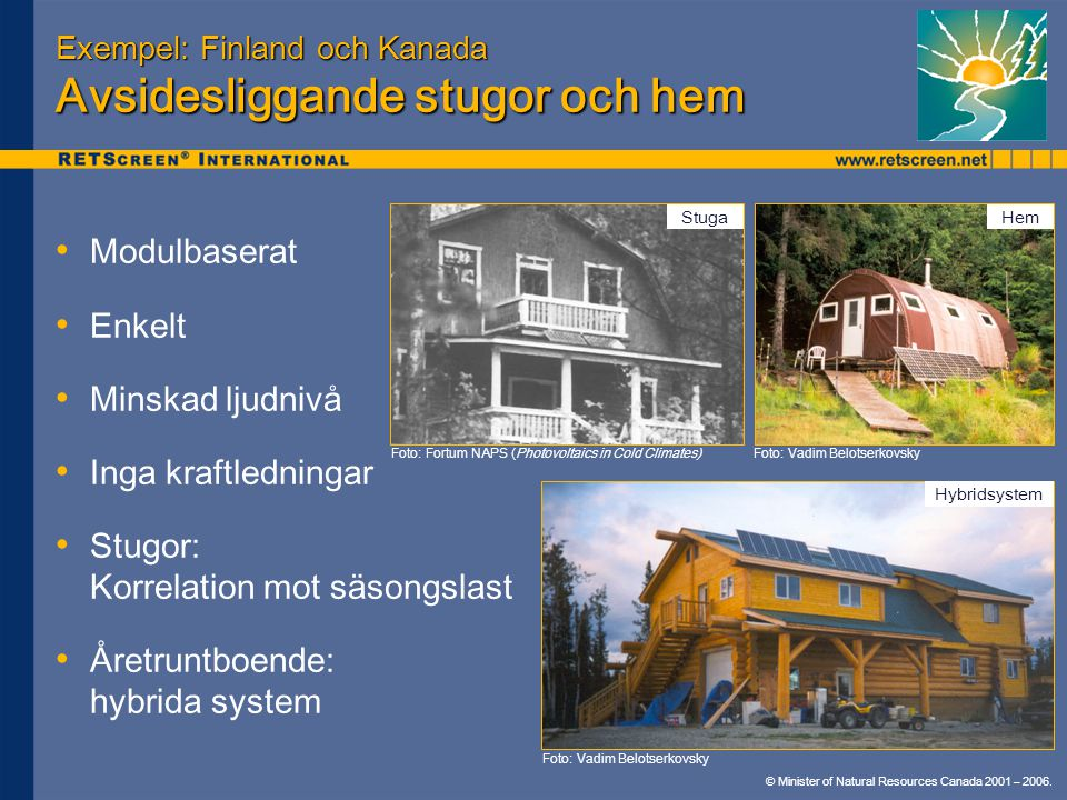 © Minister of Natural Resources Canada 2001 – 2006. Exempel: Finland och Kanada Avsidesliggande stugor och hem Modulbaserat Enkelt Minskad ljudnivå In