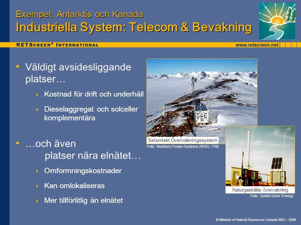 © Minister of Natural Resources Canada 2001 – 2006. Exempel: Antarktis och Kanada Industriella System: Telecom & Bevakning Väldigt avsidesliggande pla