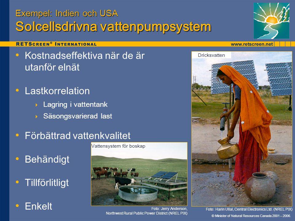 © Minister of Natural Resources Canada 2001 – 2006. Exempel: Indien och USA Solcellsdrivna vattenpumpsystem Kostnadseffektiva när de är utanför elnät