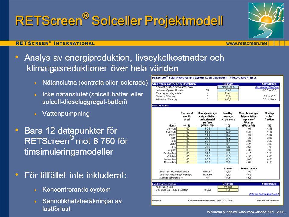 © Minister of Natural Resources Canada 2001 – 2006. RETScreen ® Solceller Projektmodell Analys av energiproduktion, livscykelkostnader och klimatgasre