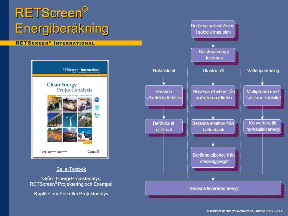 © Minister of Natural Resources Canada 2001 – 2006. RETScreen ® Energiberäkning Beräkna solinstrålning i solcellernas plan Beräkna växelriktarförluste