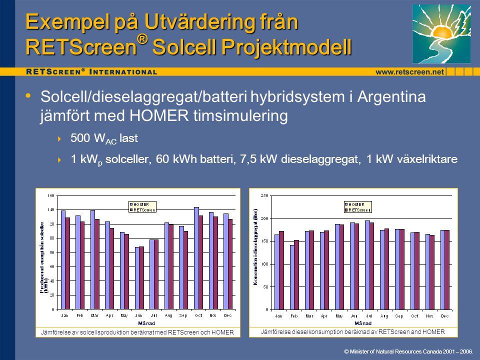 © Minister of Natural Resources Canada 2001 – 2006. Exempel på Utvärdering från RETScreen ® Solcell Projektmodell Solcell/dieselaggregat/batteri hybri