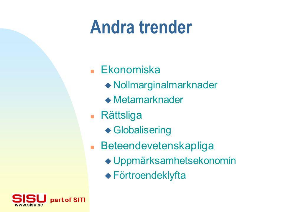 www.sisu.se part of SITI Tekniska trender n Det expanderade företaget u Wal-mart / Procter&Gamble u Dell: Ditt företags lager är ett mått på ditt före