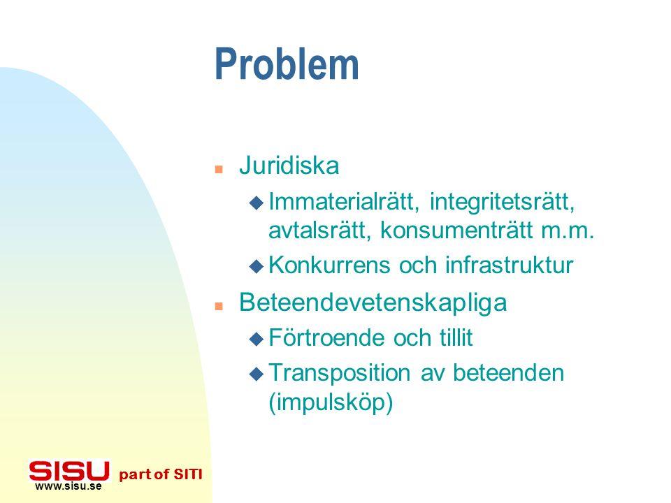 www.sisu.se part of SITI Problem n Tekniska u Säkerhet och standarder u Legacymigration n Ekonomiska u Mono- eller oligopol, skatter u Intäkter! u Kan