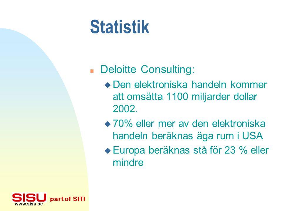 www.sisu.se part of SITI Statistik n 95-97 uppgick den elektroniska handelns intäkter till 0.5 % av den samlade detaljhandeln i den 7 största länderna