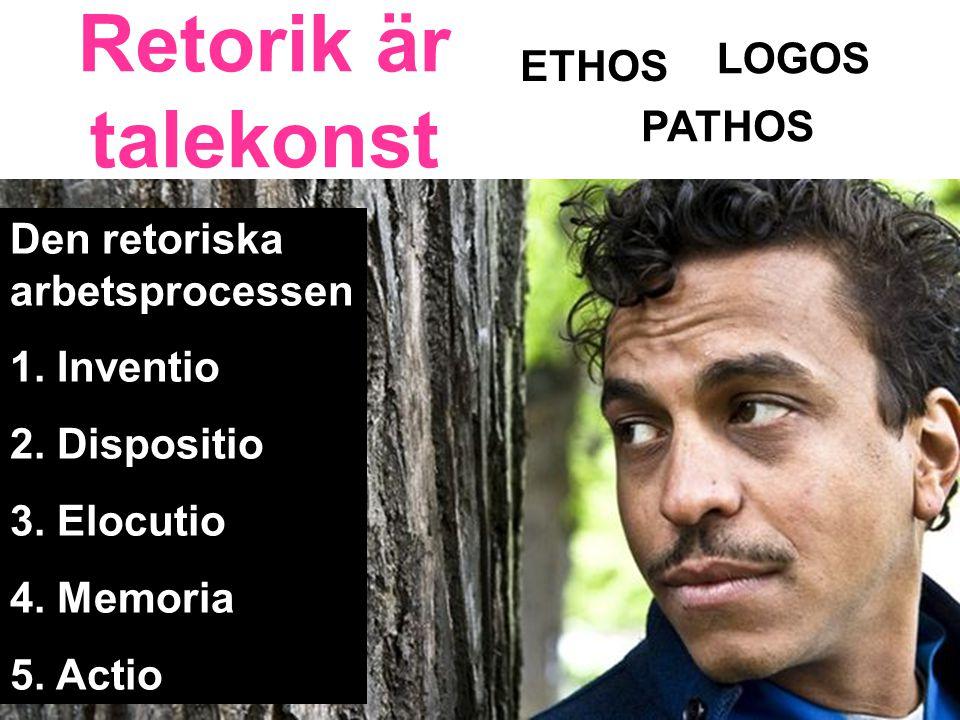 Retorik är talekonst ETHOS LOGOS PATHOS Den retoriska arbetsprocessen 1.