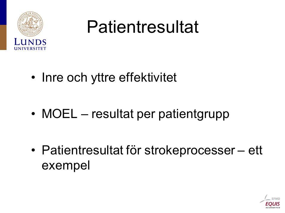 Patientresultat Inre och yttre effektivitet MOEL – resultat per patientgrupp Patientresultat för strokeprocesser – ett exempel