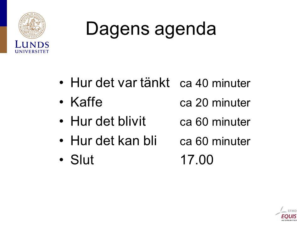 Dagens agenda Hur det var tänkt ca 40 minuter Kaffe ca 20 minuter Hur det blivit ca 60 minuter Hur det kan bli ca 60 minuter Slut17.00