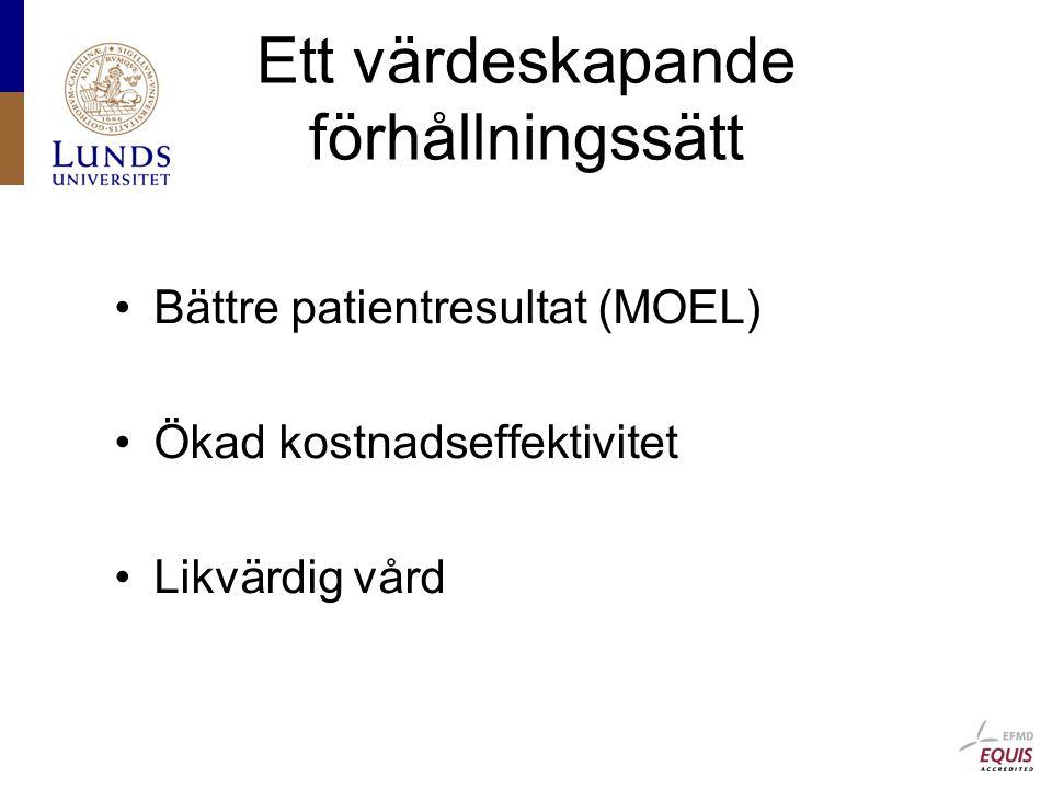 Ett värdeskapande förhållningssätt Bättre patientresultat (MOEL) Ökad kostnadseffektivitet Likvärdig vård
