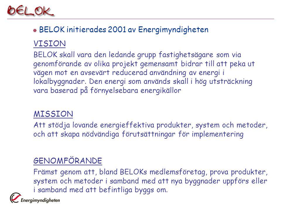 BELOK initierades 2001 av Energimyndigheten VISION BELOK skall vara den ledande grupp fastighetsägare som via genomförande av olika projekt gemensam